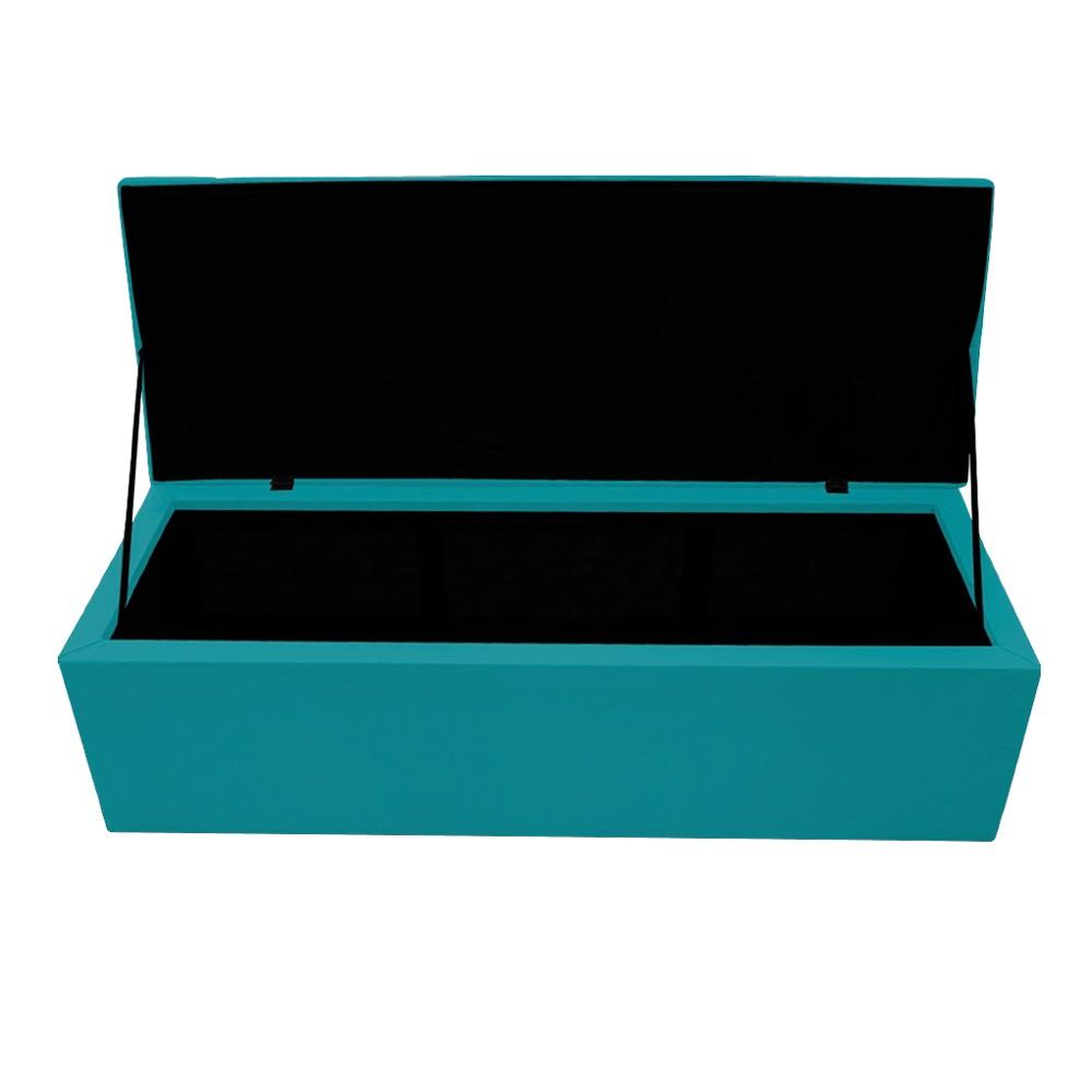 Calçadeira Copenhague 160 cm Queen Size Suede Azul Turquesa - ADJ Decor
