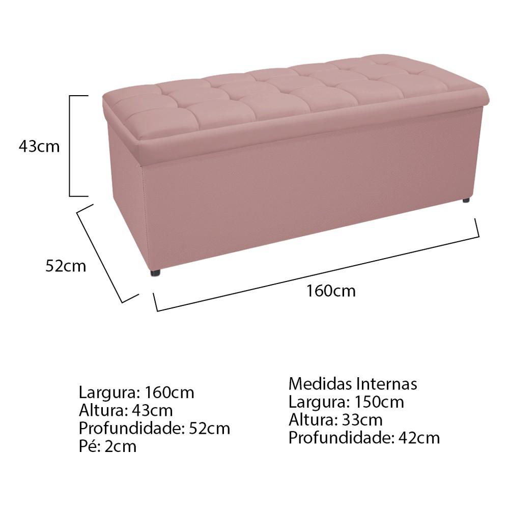 Calçadeira Copenhague 160 cm Queen Size Suede Rosê - ADJ Decor