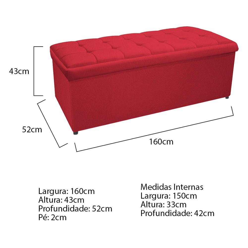 Calçadeira Copenhague 160 cm Queen Size Suede Vermelho - ADJ Decor