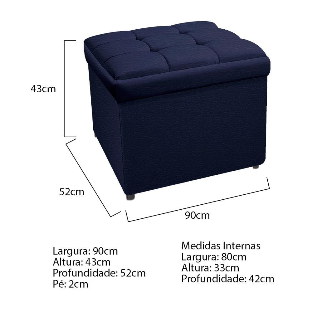Calçadeira Copenhague 90 cm Solteiro Corano Azul Marinho - ADJ Decor