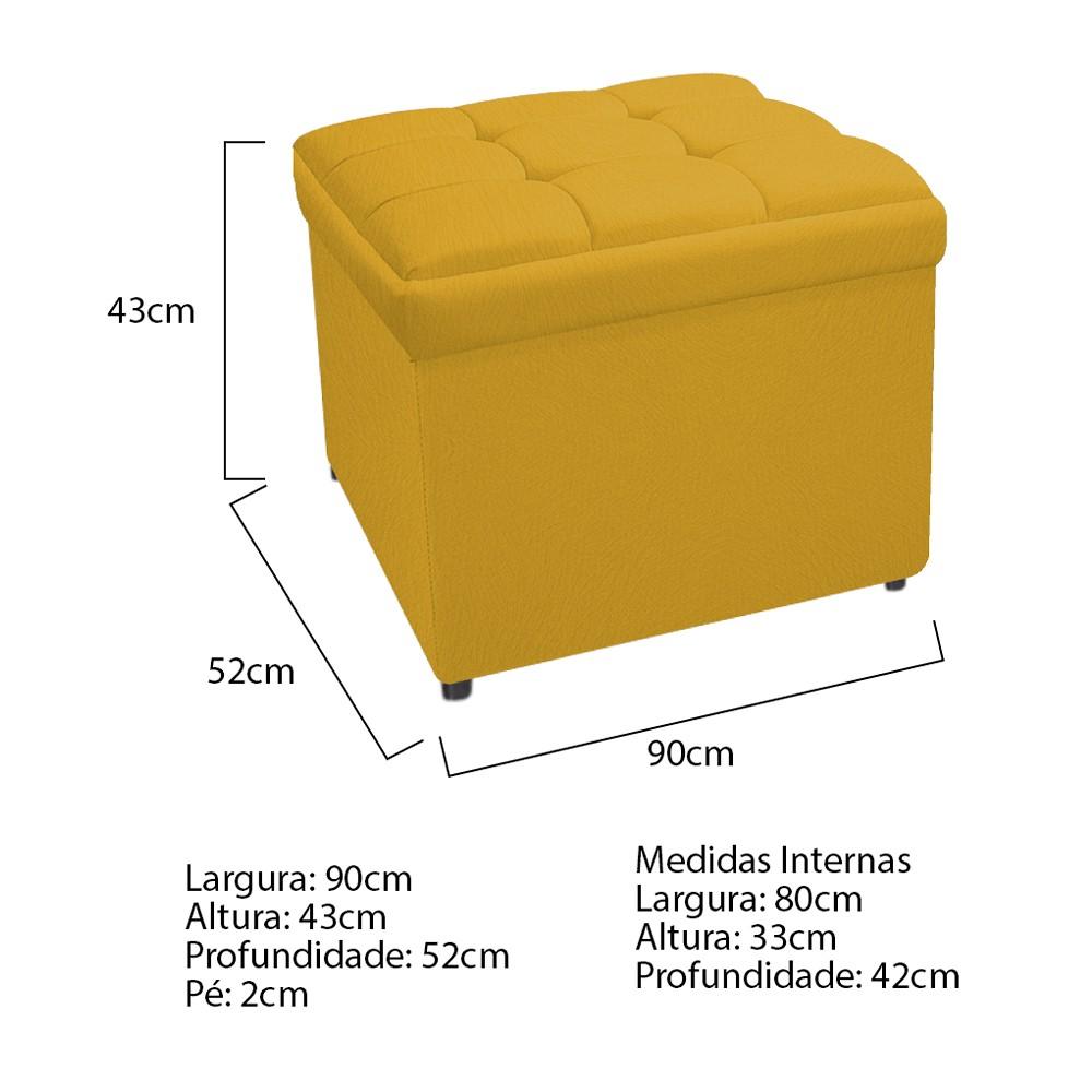 Calçadeira Copenhague 90 cm Solteiro Suede Amarelo - ADJ Decor