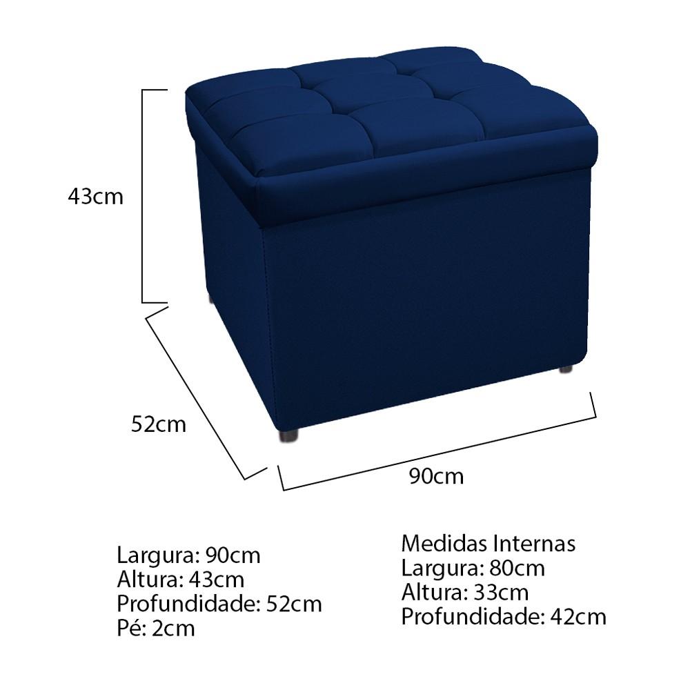 Calçadeira Copenhague 90 cm Solteiro Suede Azul Marinho - ADJ Decor