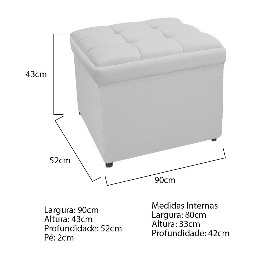 Calçadeira Copenhague 90 cm Solteiro Suede Branco - ADJ Decor