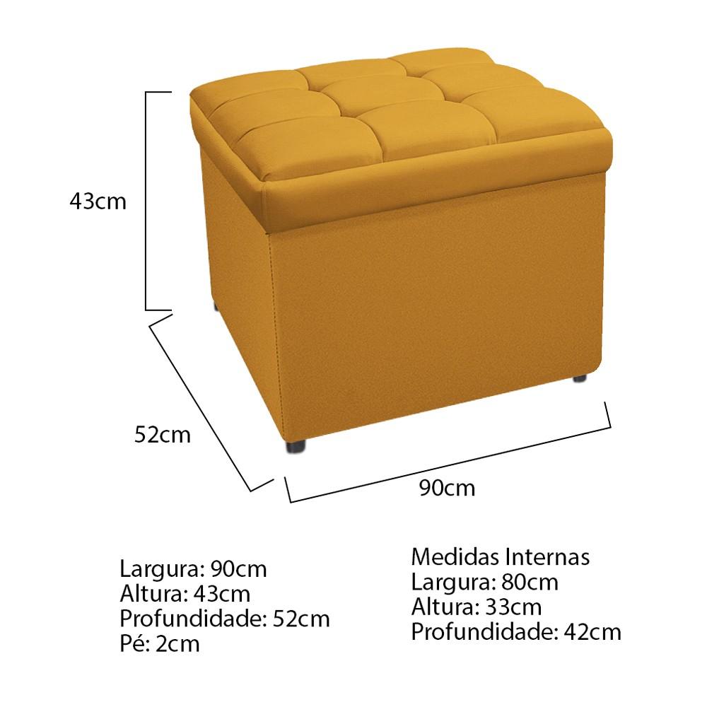 Calçadeira Copenhague 90 cm Solteiro Suede Mostarda - ADJ Decor