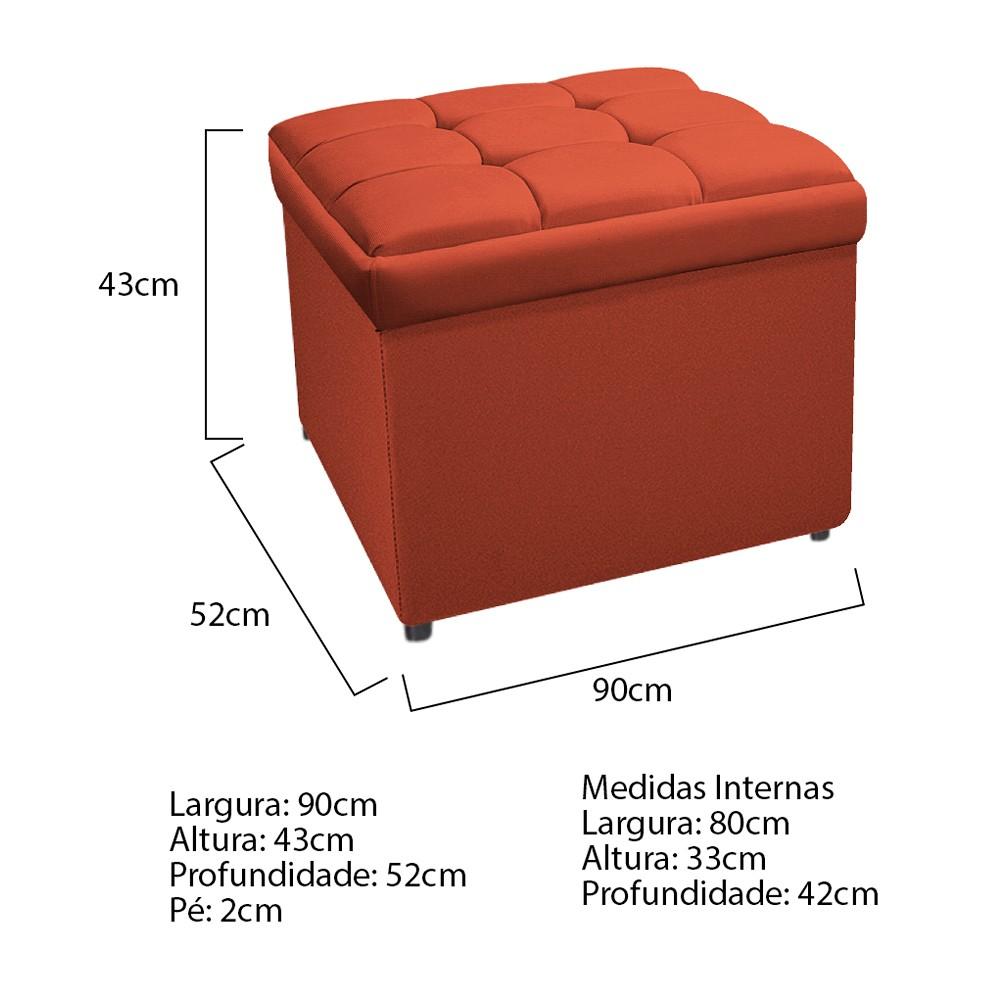 Calçadeira Copenhague 90 cm Solteiro Suede Terracota - ADJ Decor