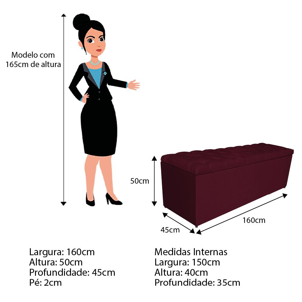 Calçadeira Estofada Liverpool 160 cm Queen Size Suede Bordô - ADJ Decor