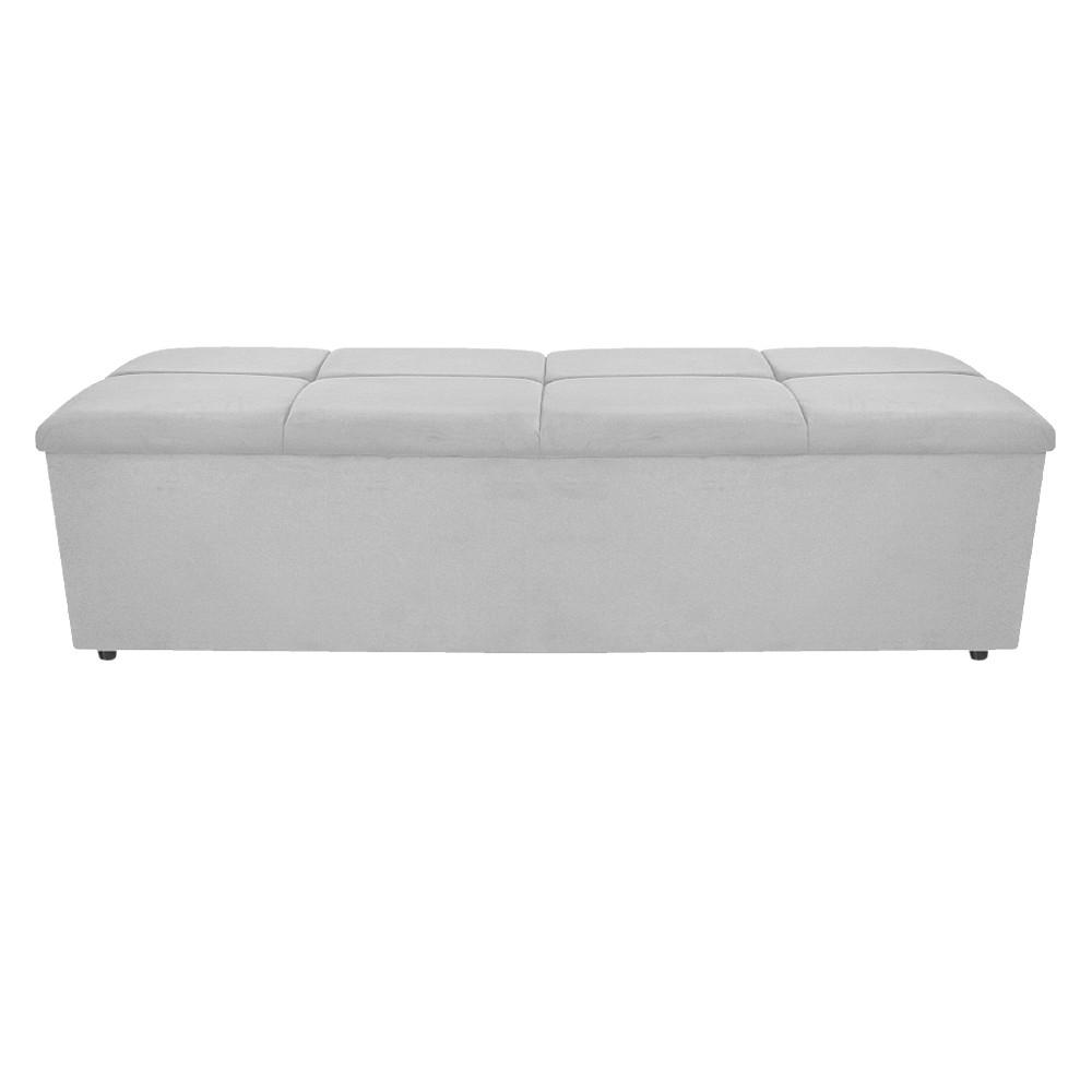 Calçadeira Munique 140 cm Casal Suede Branco - ADJ Decor