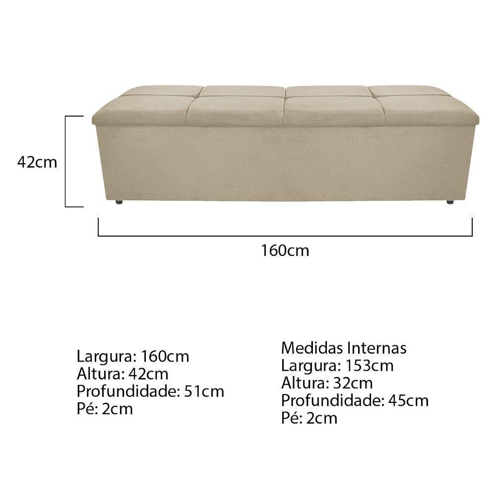 Calçadeira Munique 160 cm Queen Size Corano Bege - ADJ Decor