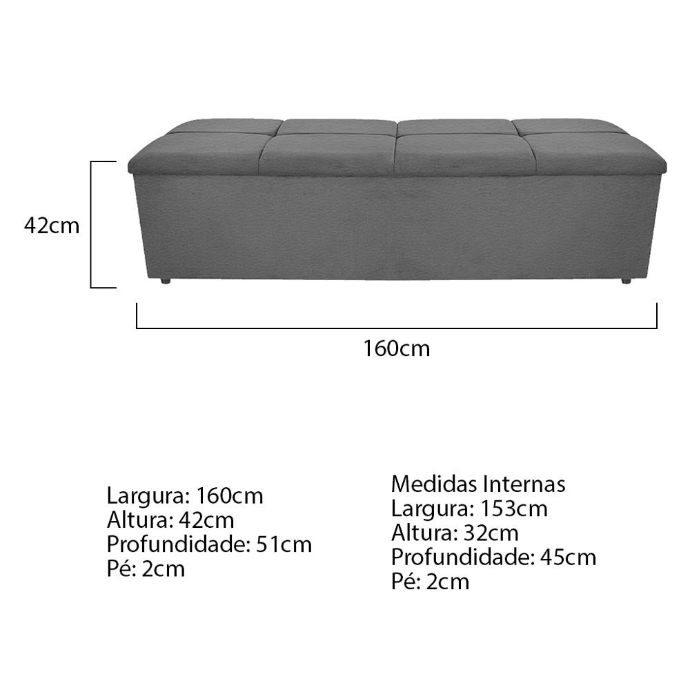Calçadeira Munique 160 cm Queen Size Corano Cinza - ADJ Decor