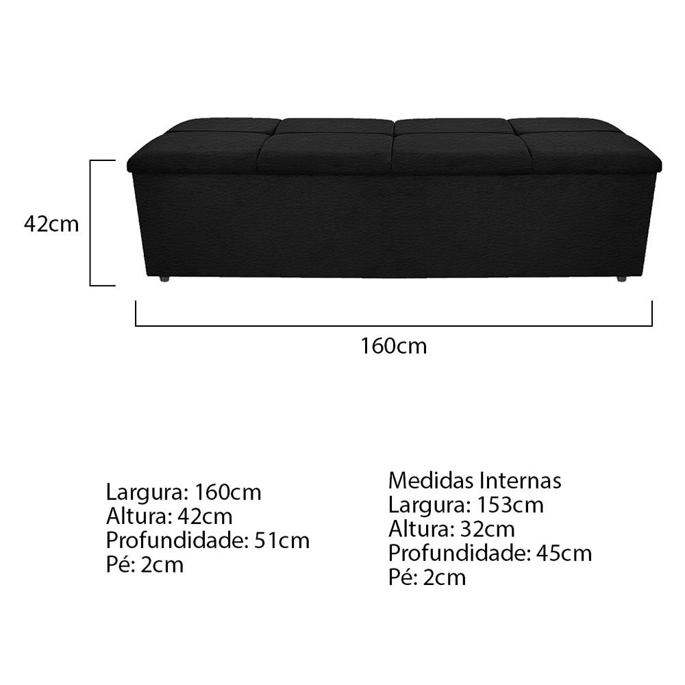 Calçadeira Munique 160 cm Queen Size Corano Preto - ADJ Decor