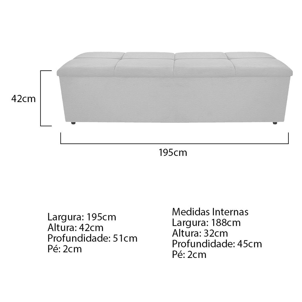 Calçadeira Munique 195 cm King Size Corano Branco - ADJ Decor