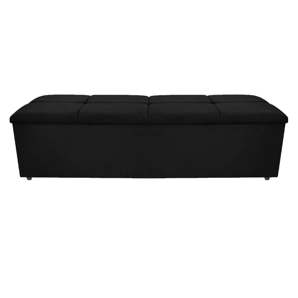 Calçadeira Munique 195 cm King Size Suede Preto - ADJ Decor