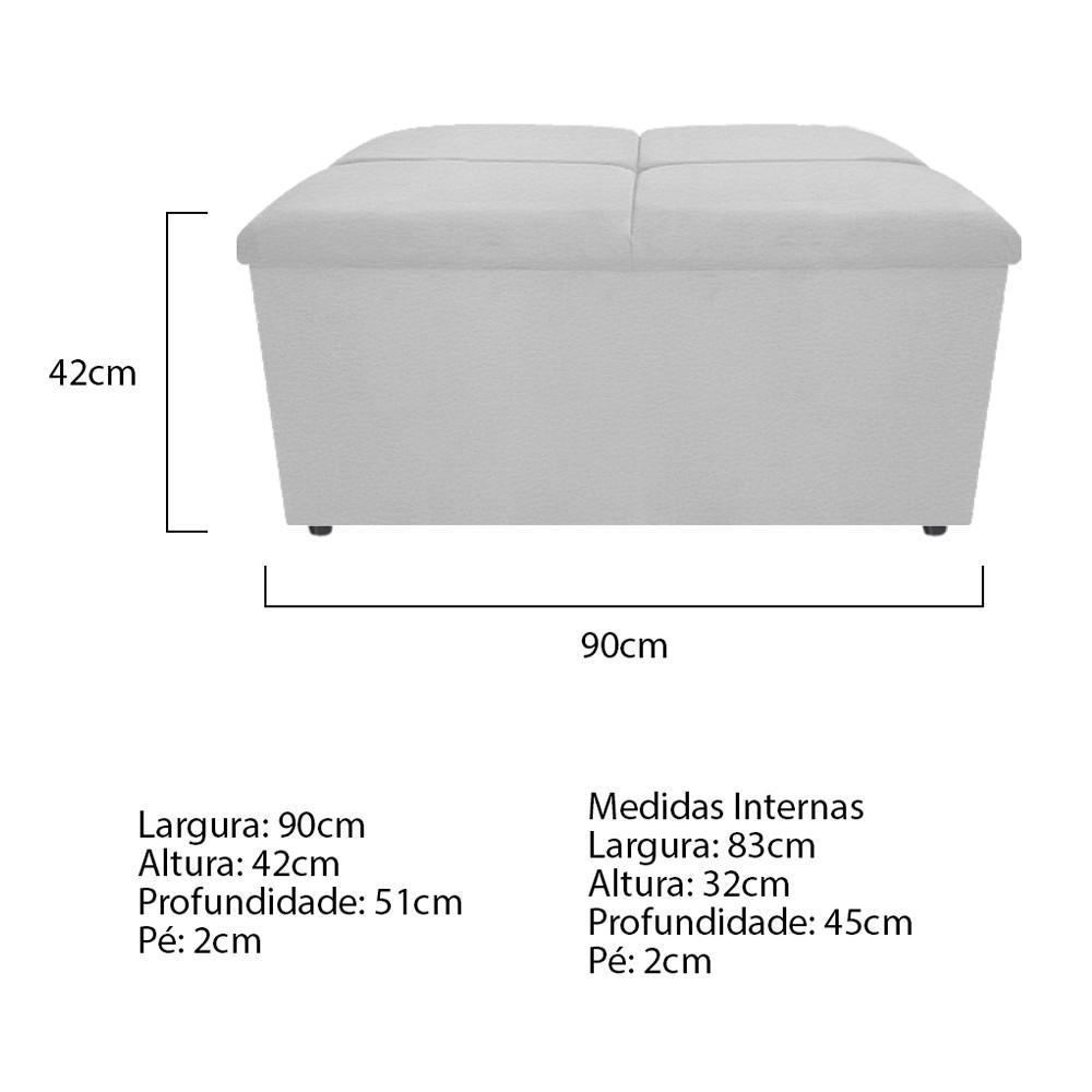 Calçadeira Munique 90 cm Solteiro Corano Branco - ADJ Decor