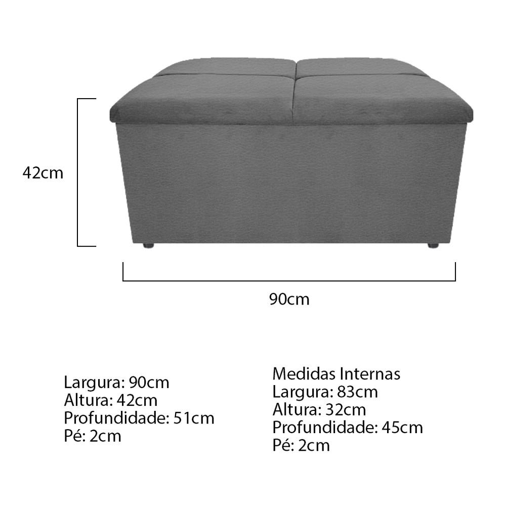 Calçadeira Munique 90 cm Solteiro Corano Cinza - ADJ Decor