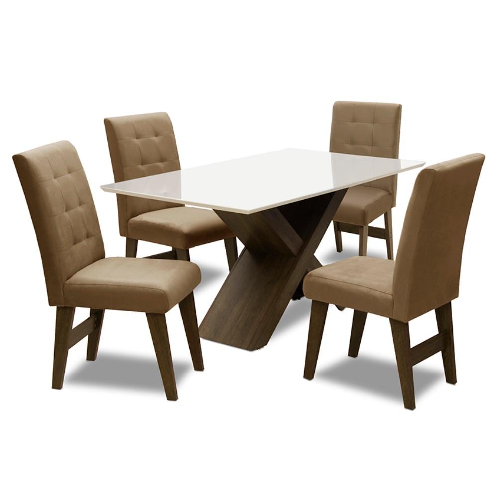 Conjunto Mesa de Jantar com 04 Cadeiras Agata 135cm Castanho/Branco Off/Mascavo - ADJ DECOR