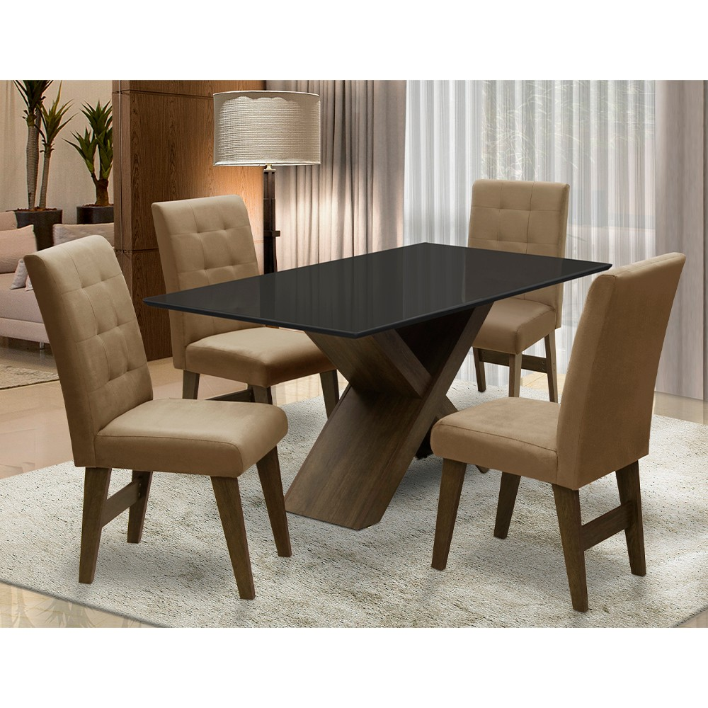 Conjunto Mesa de Jantar com 04 Cadeiras Agata 135cm Castanho/Preto/Mascavo - ADJ DECOR