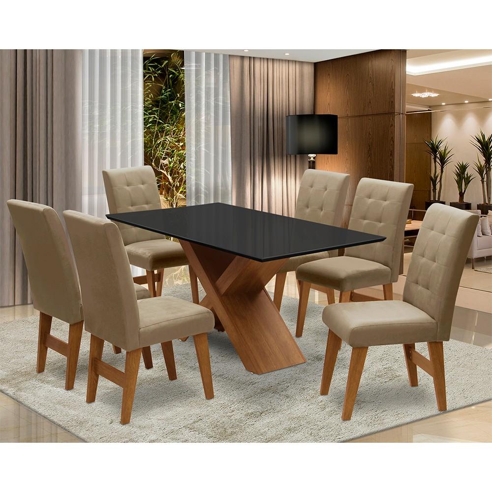Conjunto Mesa de Jantar com 06 Cadeiras Agata 160cm Cedro/Preto/Mascavo - ADJ DECOR