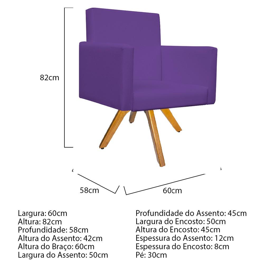 kit 02 Poltronas Beatriz Base Giratória de Madeira Corano Roxo - ADJ Decor