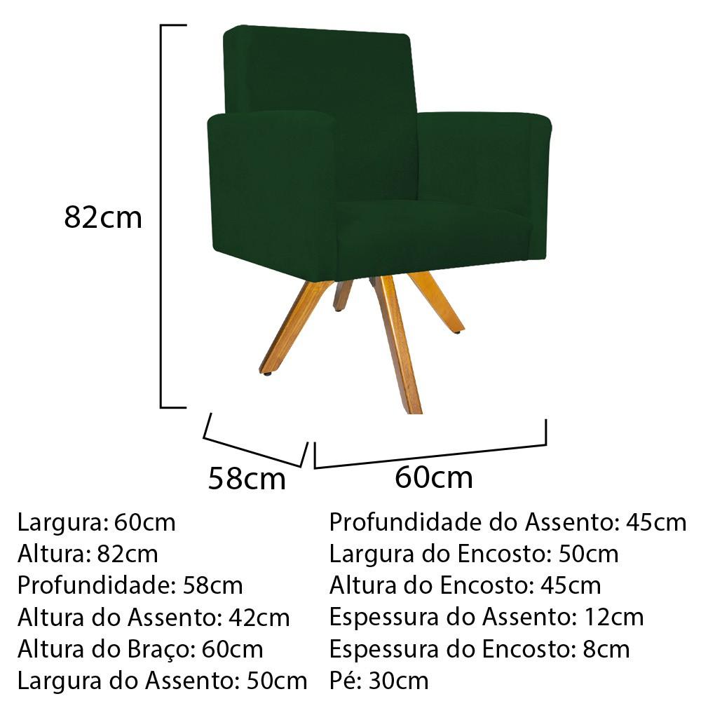 Kit 02 Poltronas Beatriz e 02 Puff Sofia Base Giratória de Madeira Suede Verde - ADJ Decor