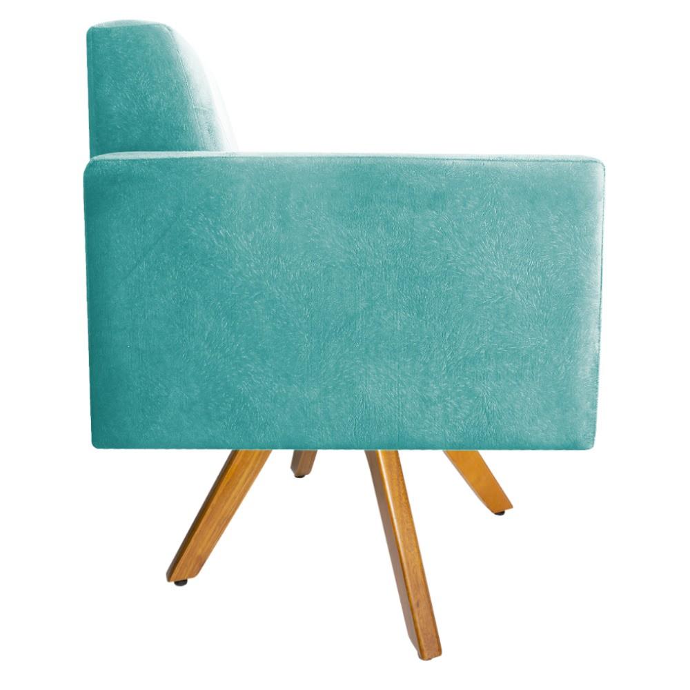 kit 02 Poltronas Bella Base Giratória de Madeira Suede Azul Tiffany - ADJ Decor