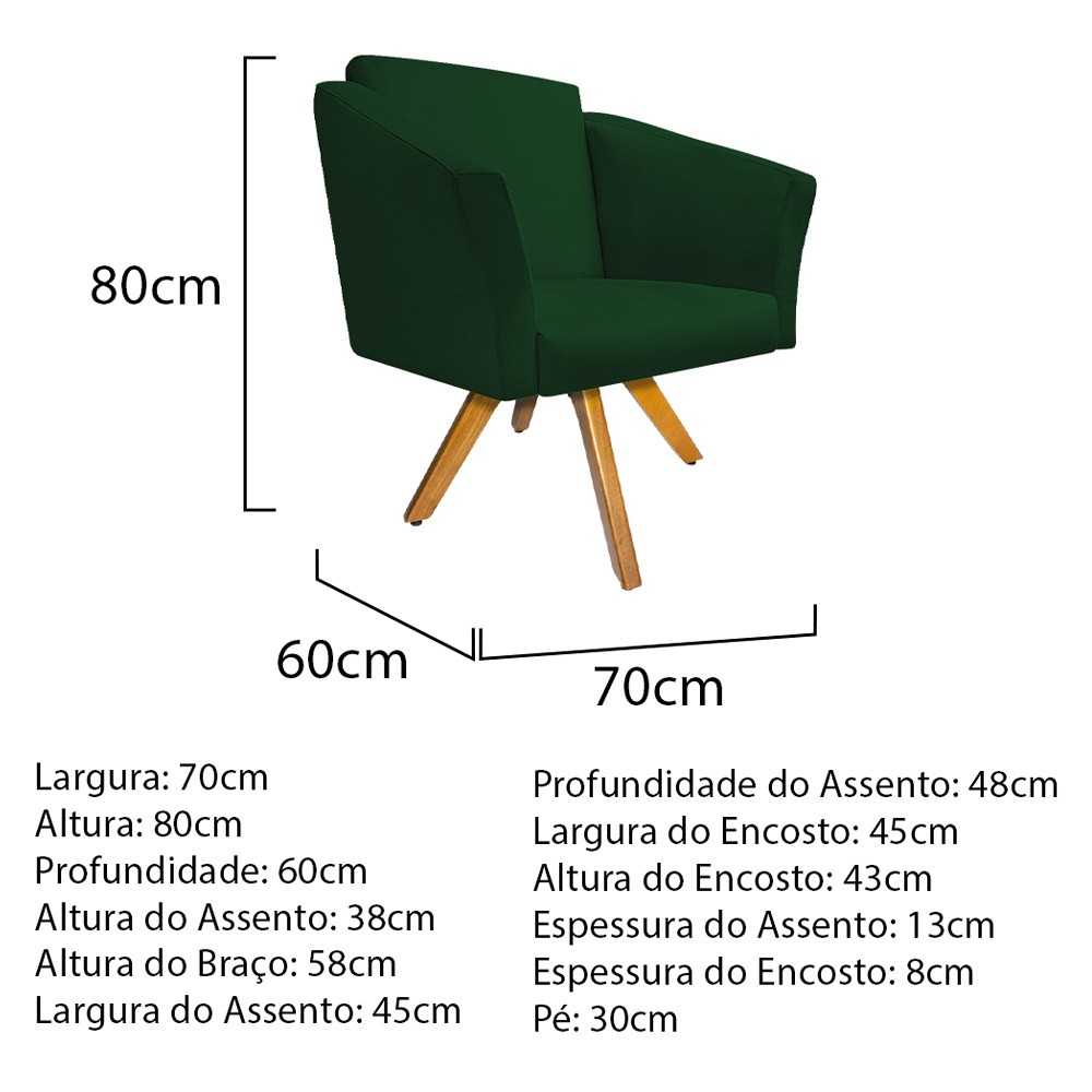 kit 02 Poltronas Diana Base Giratória de Madeira Suede Verde - ADJ Decor