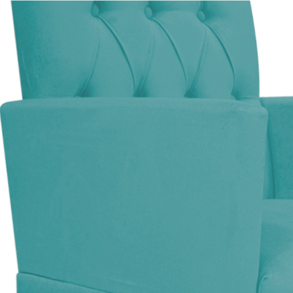 kit 02 Poltronas Fernanda Palito Mel Suede Azul Turquesa - ADJ Decor