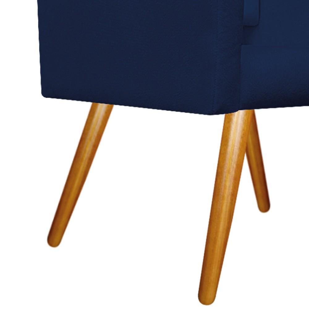 kit 02 Poltronas Gênesis Palito Mel Suede Azul Marinho - ADJ Decor