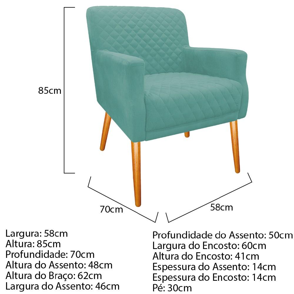 kit 02 Poltronas Juliana Palito Mel Linho Azul Turquesa - ADJ Decor