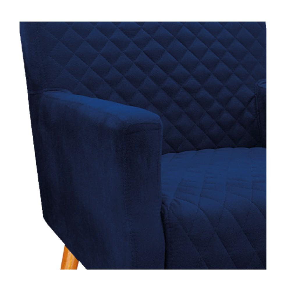 kit 02 Poltronas Juliana Palito Mel Suede Azul Marinho - ADJ Decor