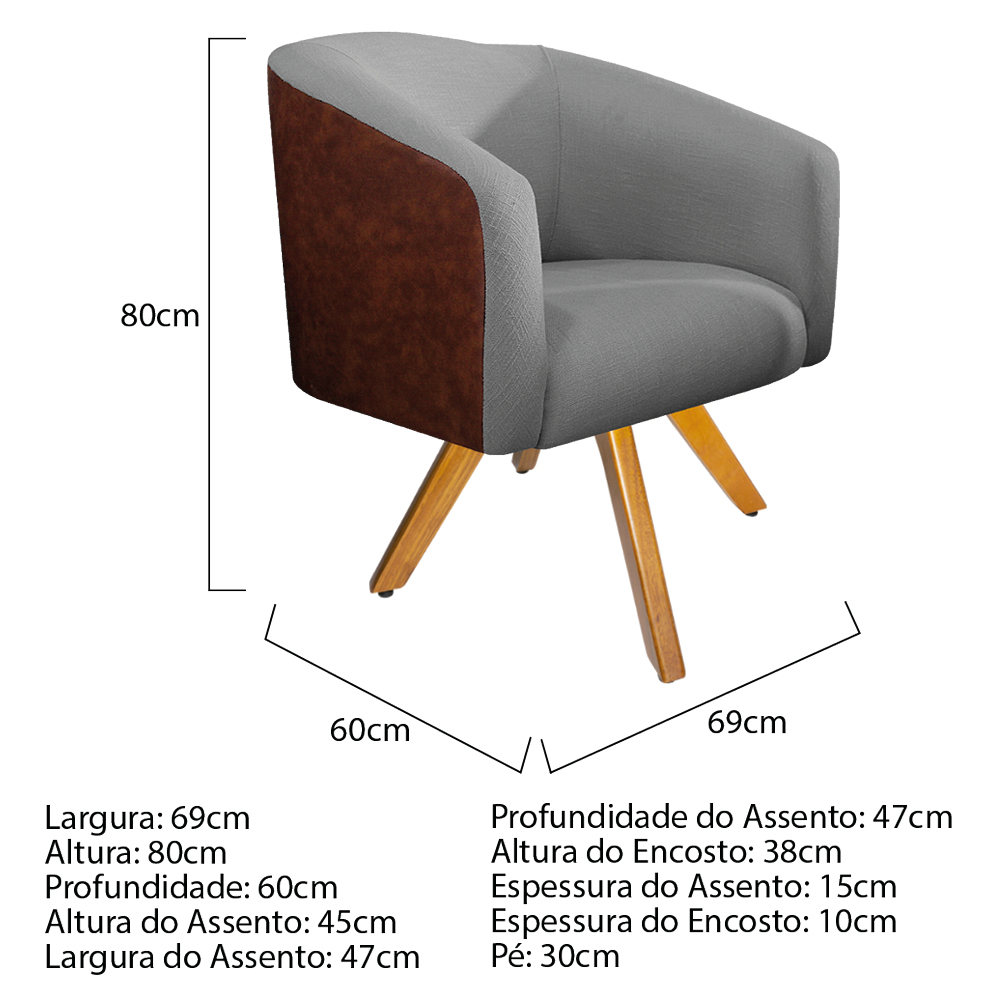 kit 02 Poltronas Luiza Base Giratória de Madeira Couro Ecológico Nozes e Linho Cinza - ADJ Decor