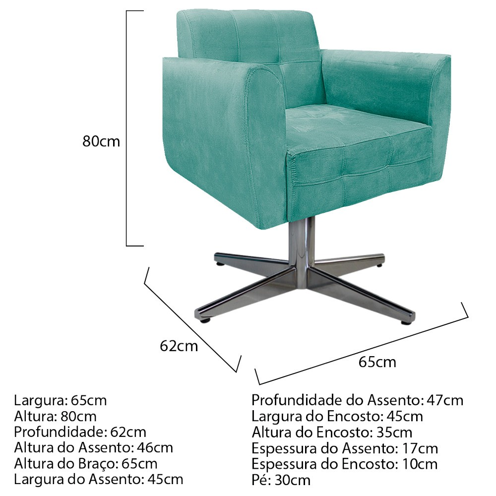 kit 02 Poltronas Stella Base Giratória de Metal Suede Azul Tiffany - ADJ Decor