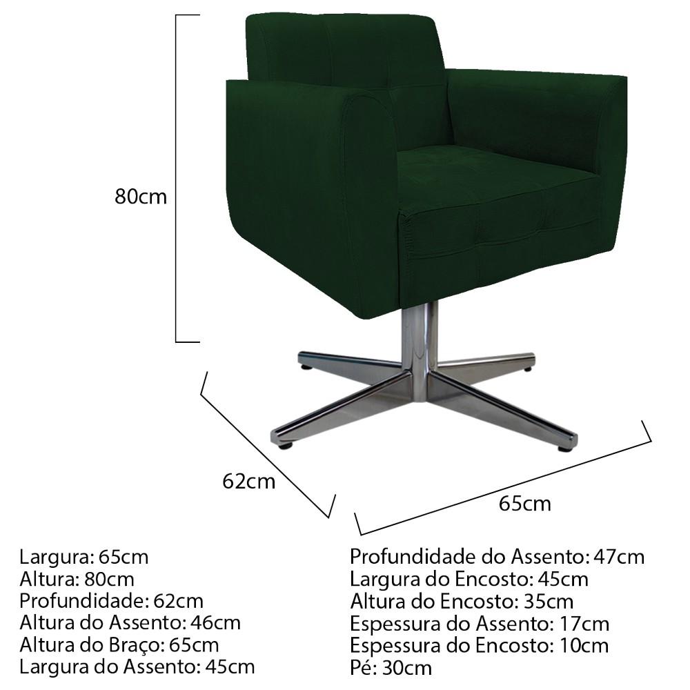 kit 02 Poltronas Stella Base Giratória de Metal Suede Verde - ADJ Decor