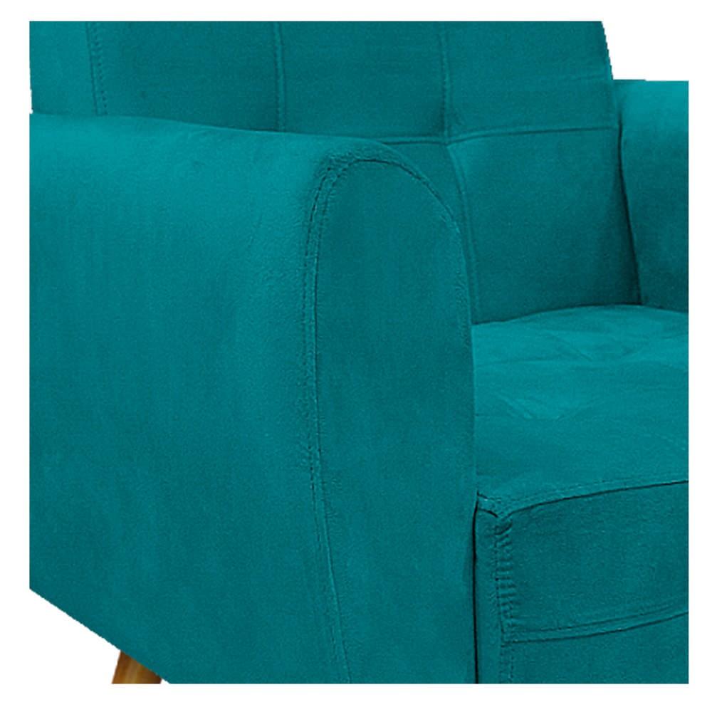 kit 02 Poltronas Stella Palito Mel Suede Azul Turquesa - ADJ Decor