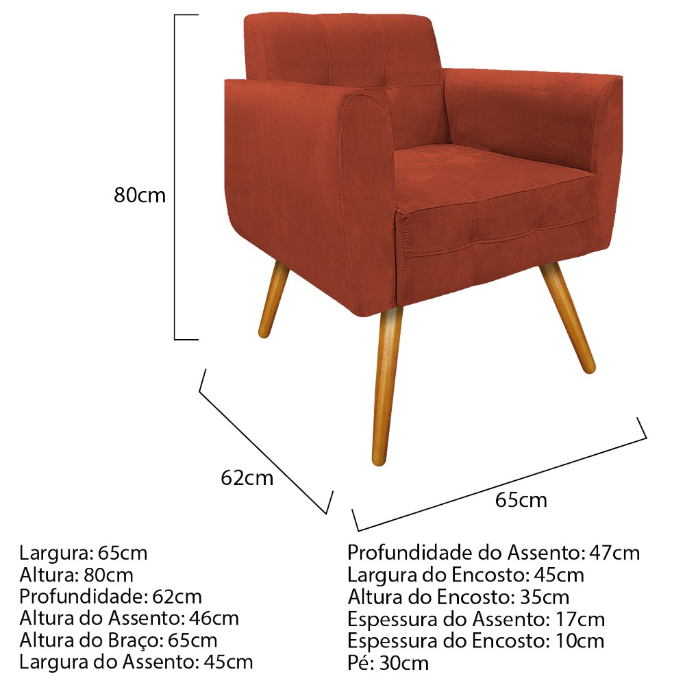 kit 02 Poltronas Stella Palito Mel Suede Terracota - ADJ Decor