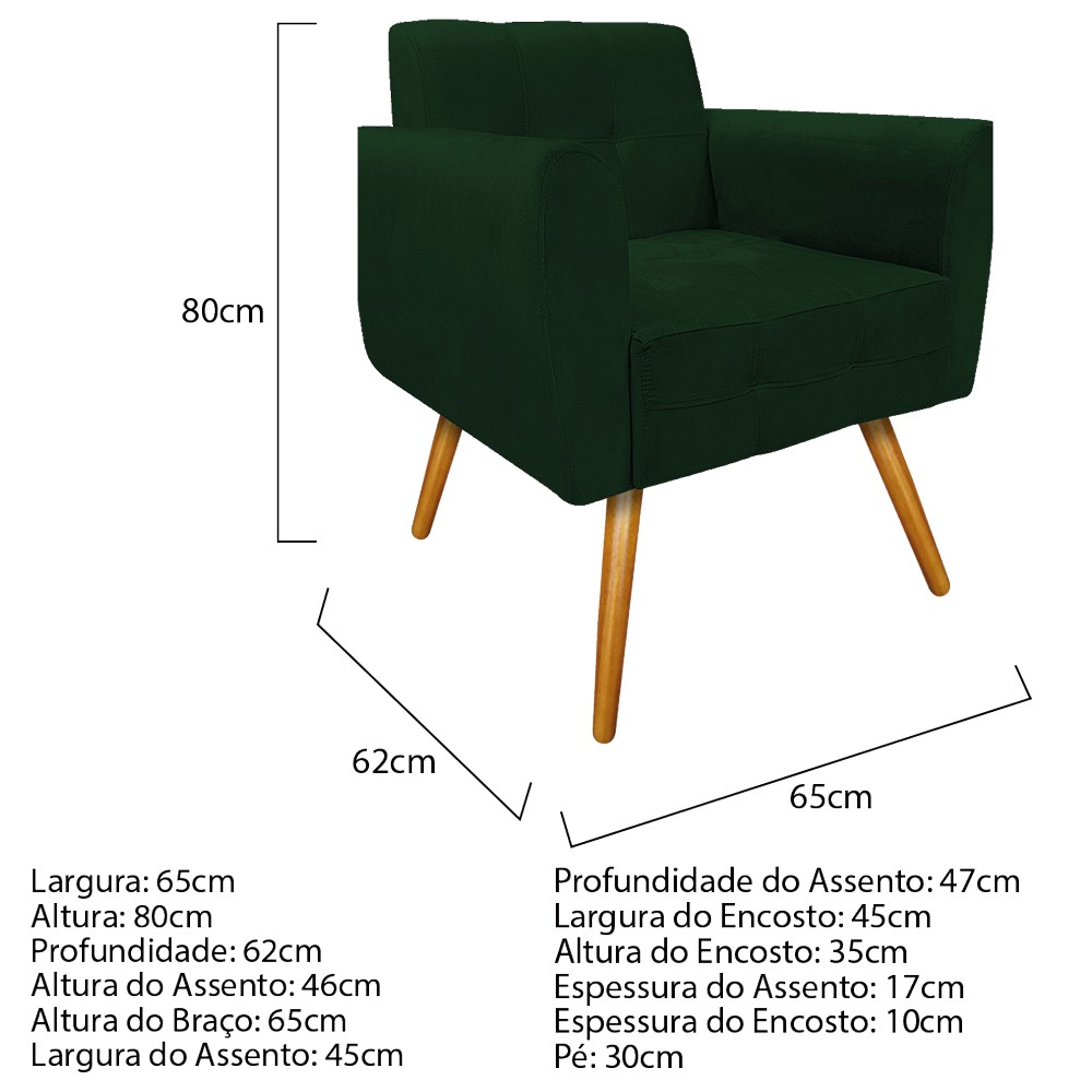 kit 02 Poltronas Stella Palito Mel Suede Verde - ADJ Decor