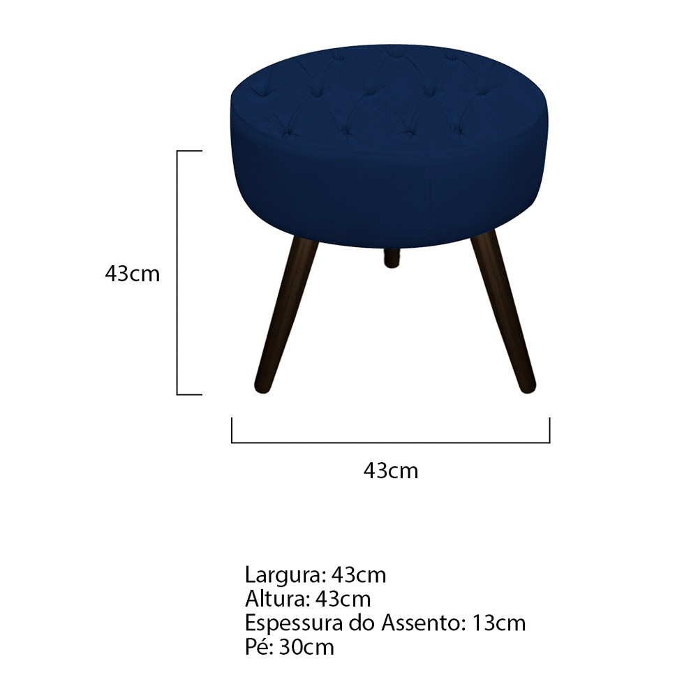 Kit 02 Puffs Fernanda Palito Tabaco Suede Azul Marinho - ADJ Decor