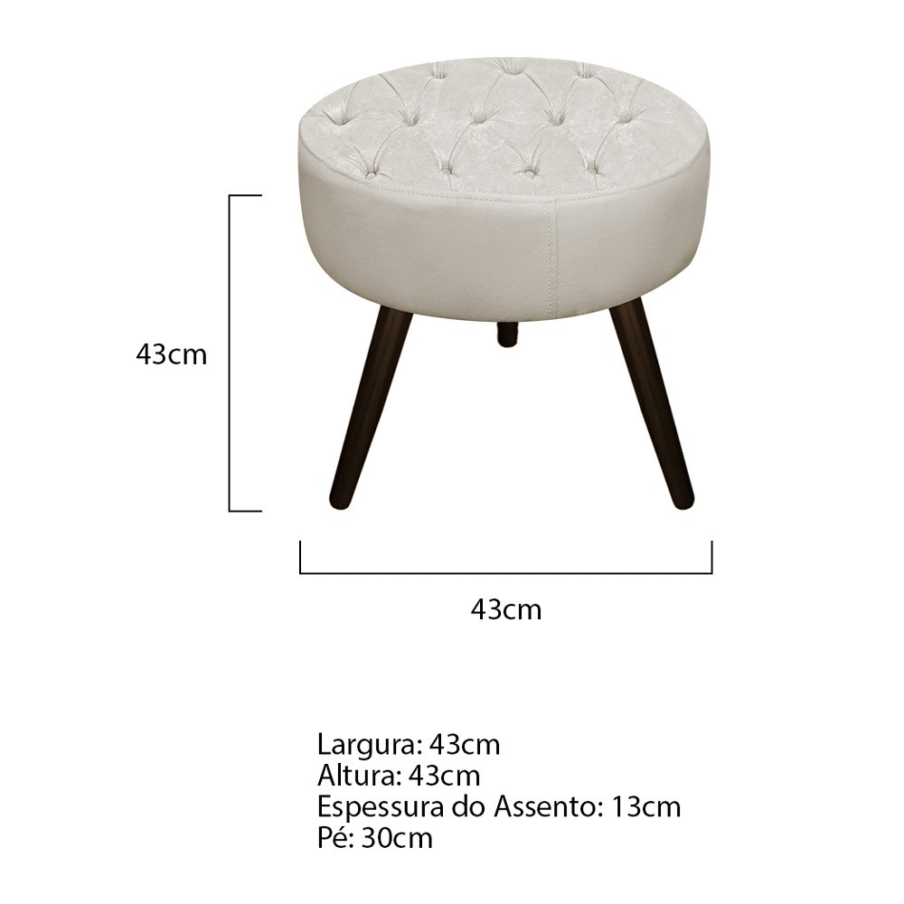 Kit 02 Puffs Fernanda Palito Tabaco Suede Bege - ADJ Decor