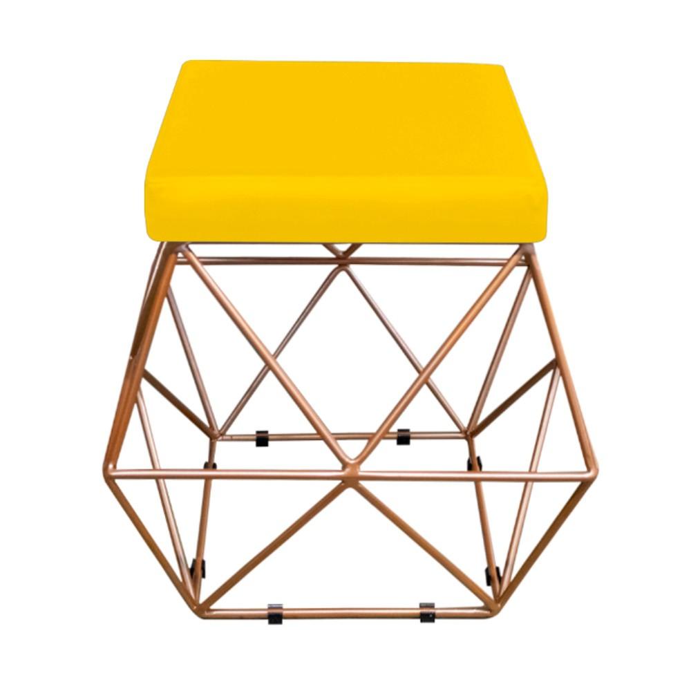 Kit 02 Puffs Quadrado Aramado Elsa Corano Amarelo - ADJ Decor