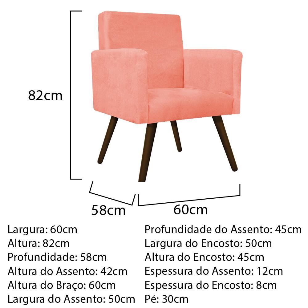 kit 03 Poltronas Beatriz Palito Tabaco Suede Coral - ADJ Decor