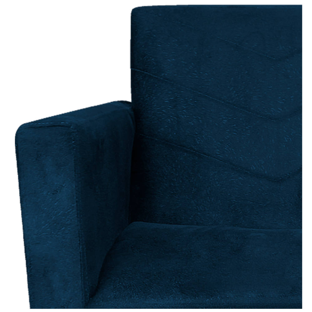 kit 03 Poltronas Bella Base de Ferro Bronze Suede Azul Marinho - ADJ Decor
