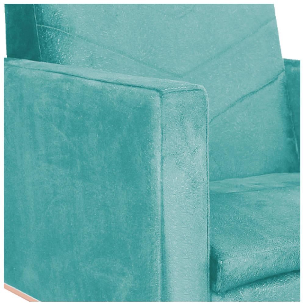 kit 03 Poltronas Bella Base de Ferro Bronze Suede Azul Tiffany - ADJ Decor