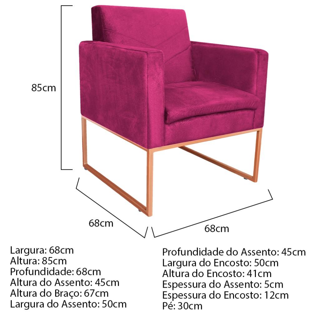 kit 03 Poltronas Bella Base de Ferro Bronze Suede Pink - ADJ Decor