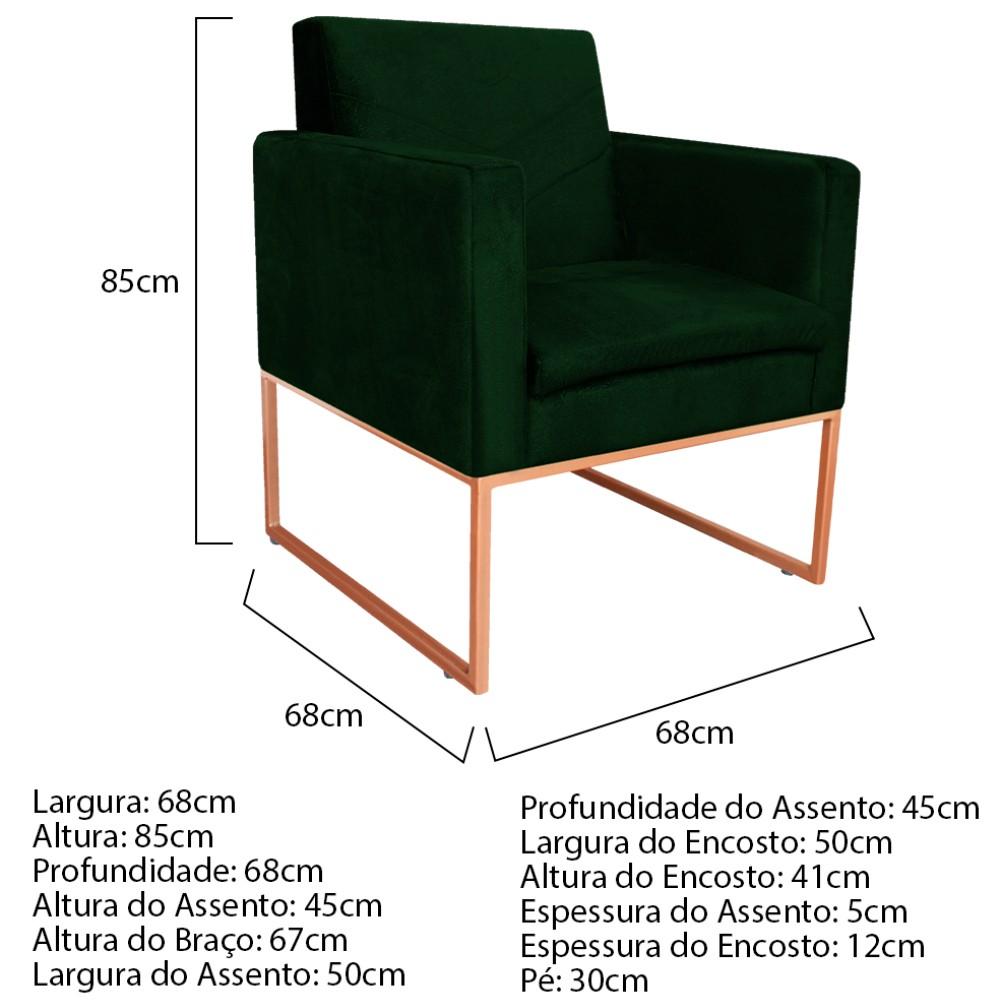 kit 03 Poltronas Bella Base de Ferro Bronze Suede Verde - ADJ Decor