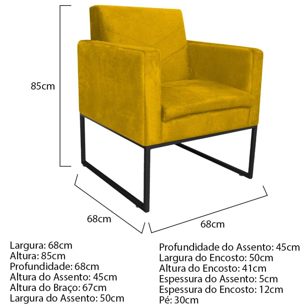 kit 03 Poltronas Bella Base de Ferro Preta Suede Amarelo - ADJ Decor