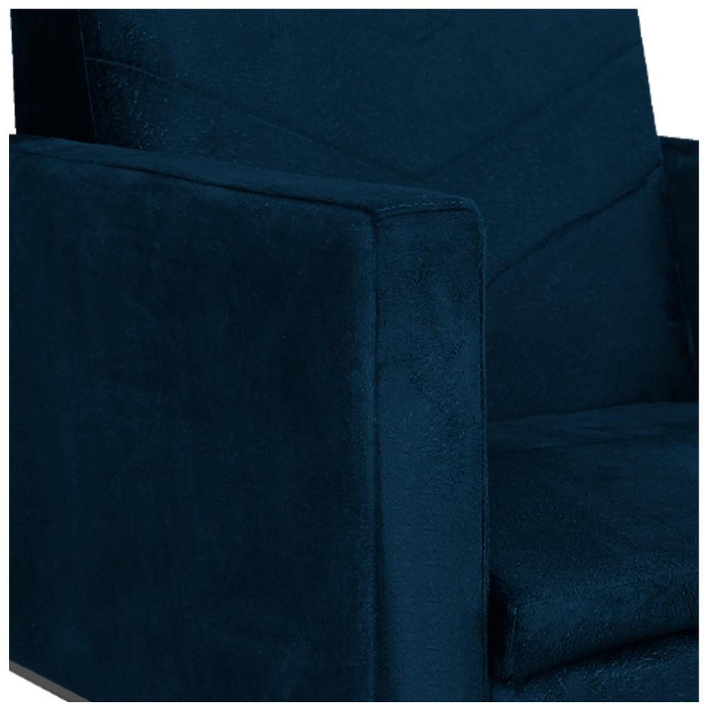 kit 03 Poltronas Bella Base de Ferro Preta Suede Azul Marinho - ADJ Decor
