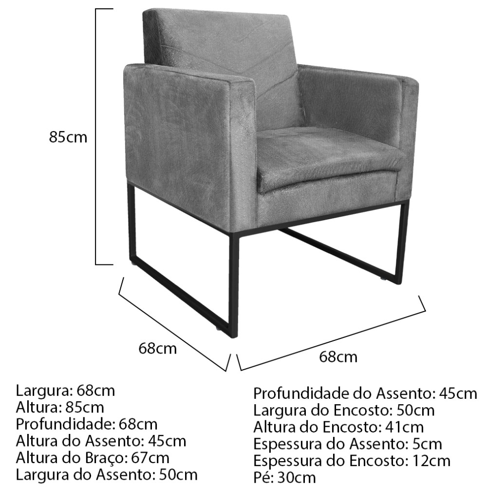 kit 03 Poltronas Bella Base de Ferro Preta Suede Cinza - ADJ Decor