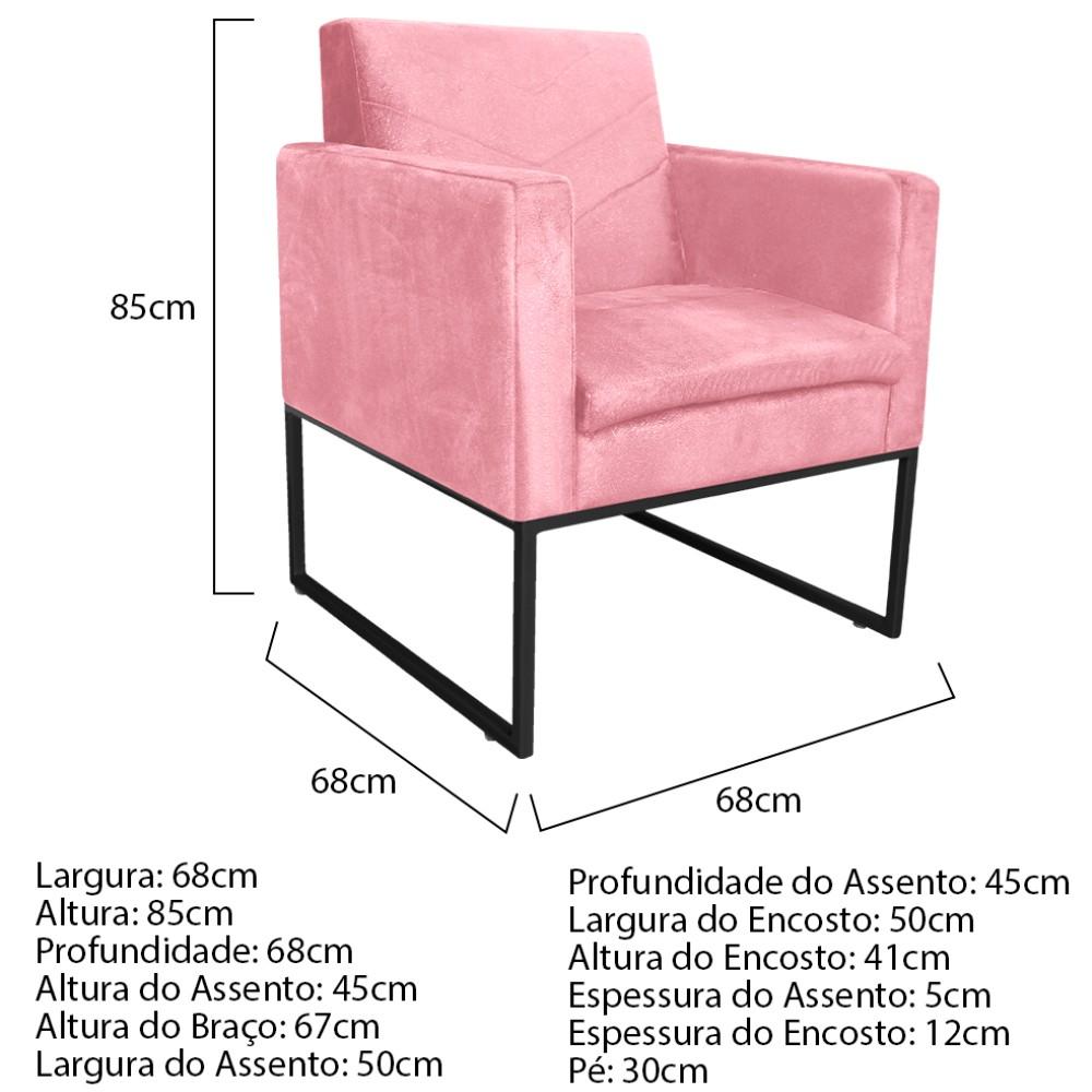 kit 03 Poltronas Bella Base de Ferro Preta Suede Rosa Bebê - ADJ Decor