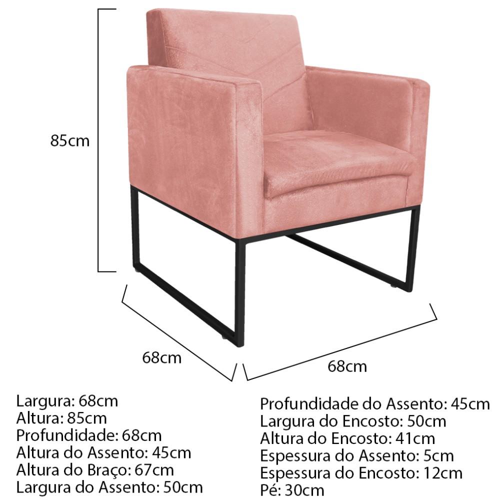 kit 03 Poltronas Bella Base de Ferro Preta Suede Rosê - ADJ Decor