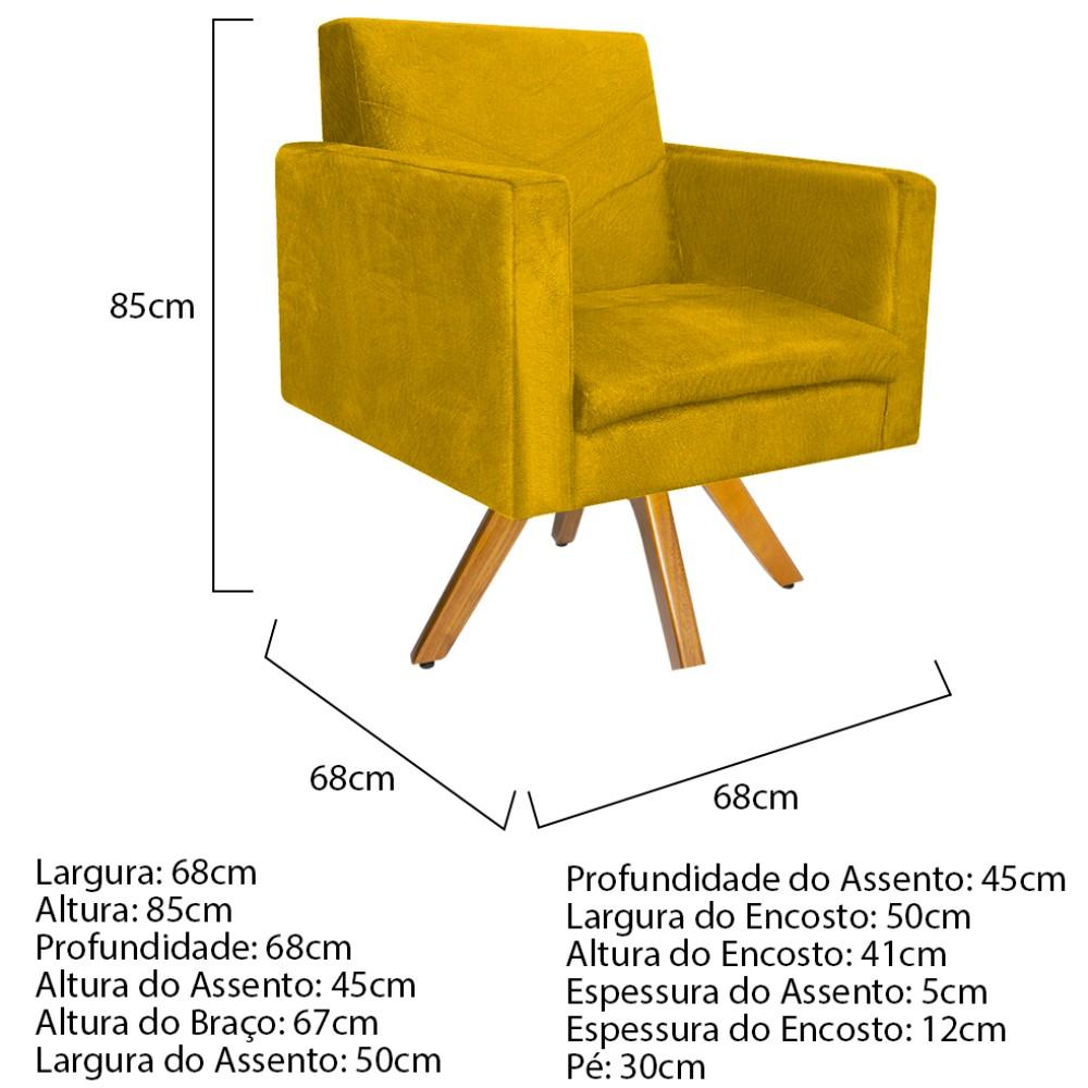 kit 03 Poltronas Bella Base Giratória de Madeira Suede Amarelo - ADJ Decor