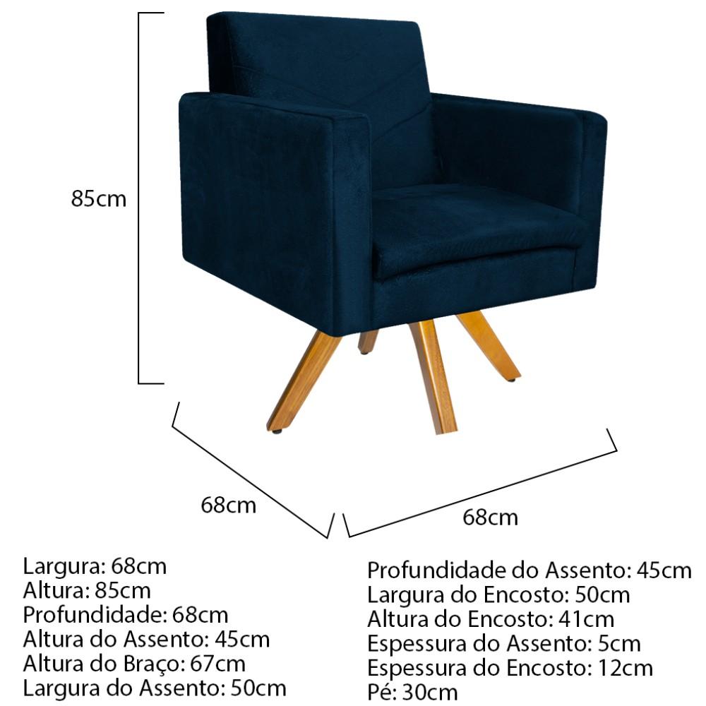 kit 03 Poltronas Bella Base Giratória de Madeira Suede Azul Marinho - ADJ Decor